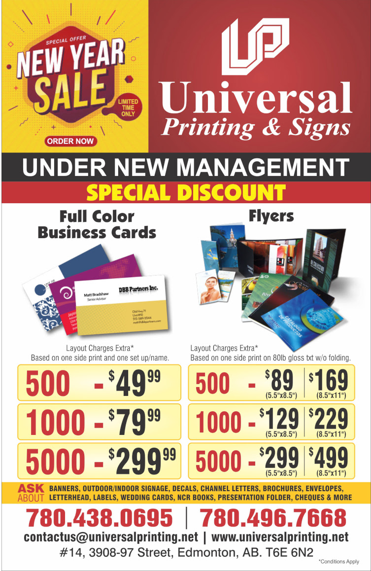 Universal Printing and signs Edmonton, printing shop in south Edmonton, get special discount for business card printing and flyers printing. 500 cards in $50, 1000 in $79.99, 5000 in $299.99. Print 500 flyers in 89$